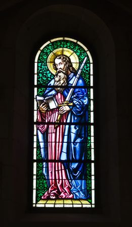 Stained glasses of the Grossnuenster church in Zurich photo