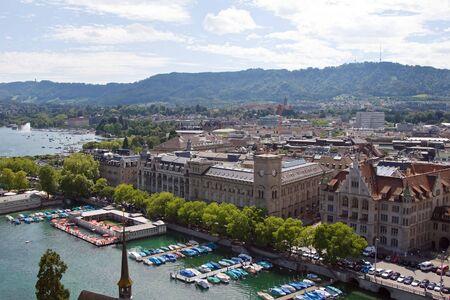 Zurich city (View from Grossmunster, Zurich, Switzerland) photo