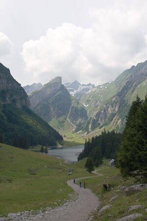 st gallen: Hiking route near Seealpsee (St. Gallen, Switzerland)