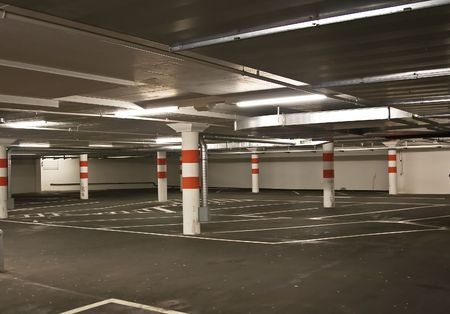 public space: Underground parking in a shopping center Editorial