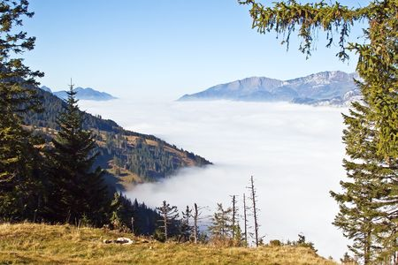 Autumn above the clouds in the alps photo