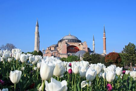 byzantium: Haghia (Aya) Sophia - famous church and mosque in Istanbul Stock Photo