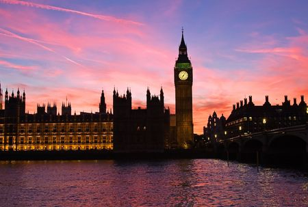 westminster: Famous Big Ben clock tower in London, UK. Stock Photo