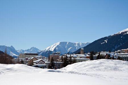 Winter holiday house in Davos, Graubuenden, Switzerland photo