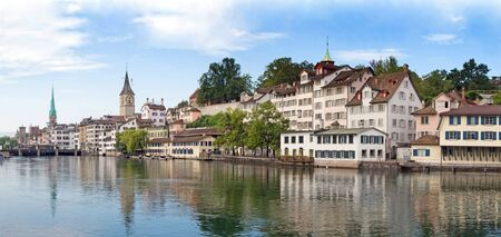 gabled: Panoramic view of the Zurich donwtown (Switzerland, 2009) Stock Photo