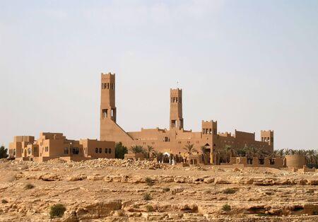 arabic desert: Mosque in the desert near Riyadh city, Saudi Arabia Stock Photo