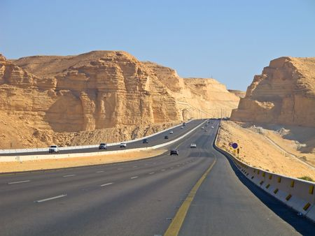 arabic desert: Road in the desert. Riyadh-Makkah highway, Saudi Arabia. Stock Photo