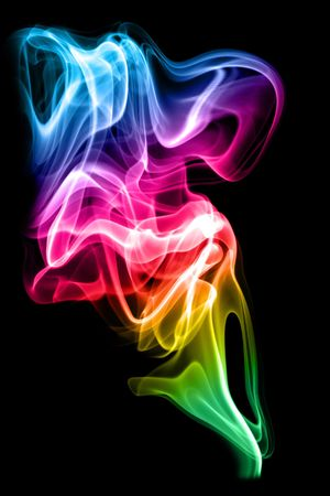 descriptive colour: Colored smoke on the white background