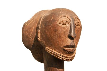 antiquity: African wooden mask isolated on white Stock Photo