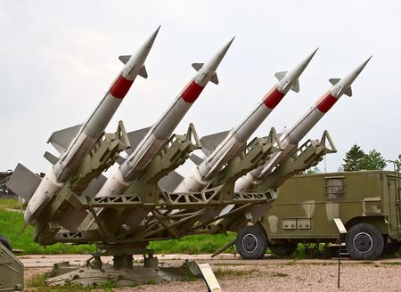 armaments: Four russian anti aircraft missiles Stock Photo