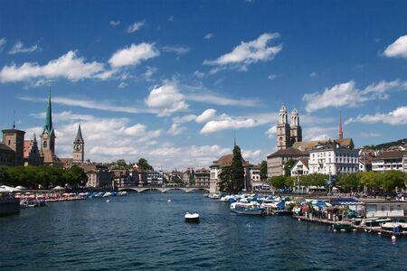 zurich: Summer view of the Zurich downtown Stock Photo