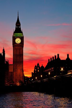 famous place: Famous Big Ben clock tower in London, UK. Stock Photo