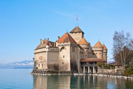 turrets:  The Chillon Castle (Chateau de Chillon)