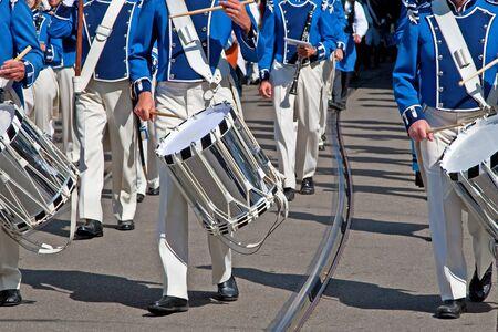Military band marching at the parade photo
