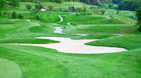 Green grass of the golf course photo
