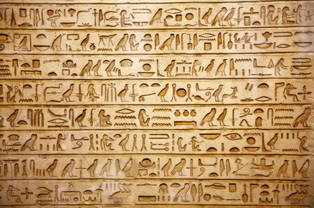 ancient egypt: old egypt hieroglyphs carved on the stone