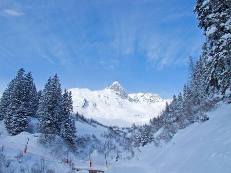 Slope on the skiing resort Elm. Switzerland photo