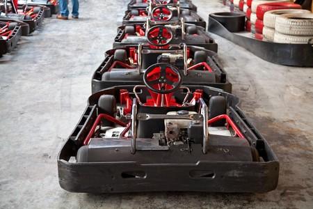 Row of carts, ready to start photo