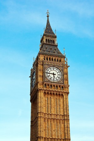the palace of westminster: Famous Big Ben clock tower in London, UK. Stock Photo