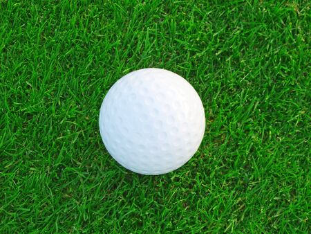 Golf ball on the green grass photo
