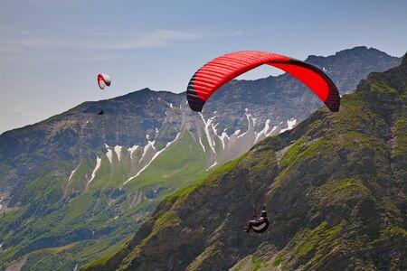 airfoil: Paragliding in swiss alps near Pizol, Switzerland