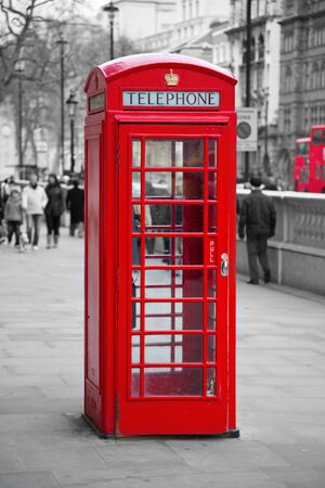 Famous red telephone booth in London, UK Stock Photo - 7646746