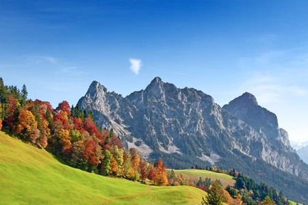 the swiss alps: Autumn (indian summer) in swiss alps  Stock Photo
