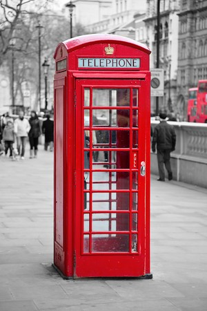 antique booth: Famous red telephone booth in London, UK