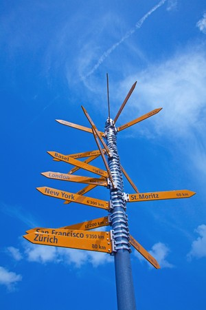 Milestone in the swiss alps, showing distances to major cities photo