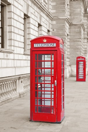 Famous red telephone booth in London, UK photo