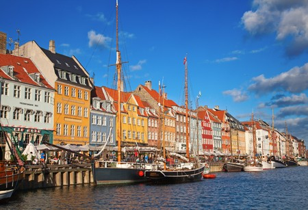 denmark: Copenhagen (Nyhavn district) in a sunny summer day