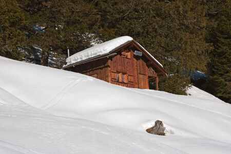 Small hunting house in swiss alps photo