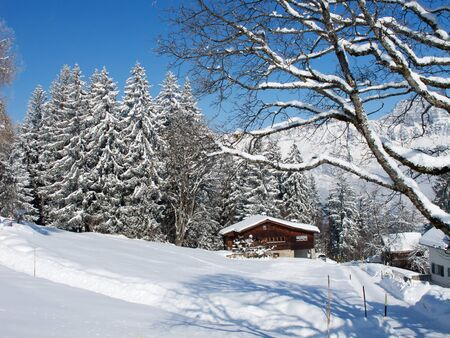 Winter holiday house in swiss alps Stock Photo - 7776141