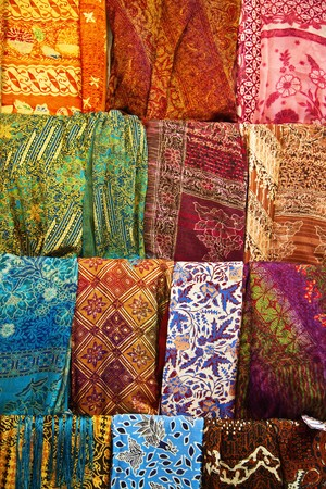 batik: Assortment of colorful sarongs for sale