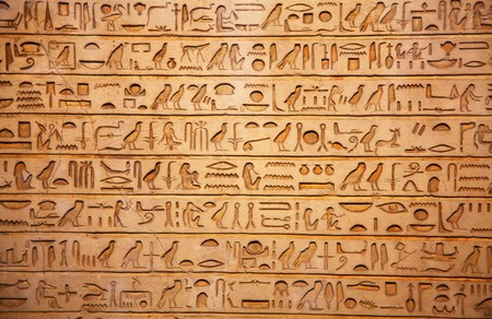 hieroglyph: old egypt hieroglyphs carved on the stone