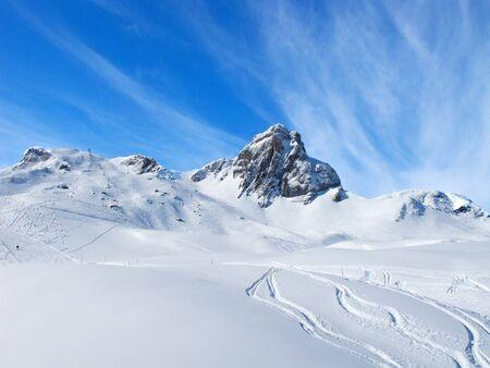 piste: Slope on the skiing resort Flumserberg. Switzerland