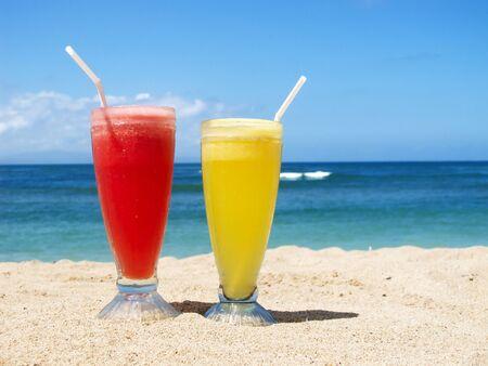 beach drink: Fresh fruit cocktail on a tropical island beach
