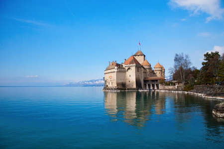 Chillon castle, Geneva lake (Lac Leman), Switzerland Stock Photo
