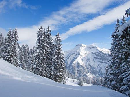 glarus: Winter in swiss alps (Elm, Glarus, Switzerland) Stock Photo