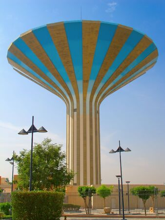 Striped water tower in Riyadh, Saudi Arabia photo