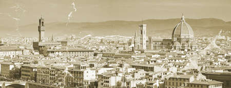 The panorama of Florence old city, Italy  photo