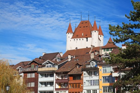 Thun castle under blue sky (Jungfrau region, cantone Bern, Switzerland) Stock Photo - 8254356