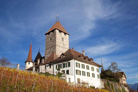 Spiez castle under blue sky (Jungfrau region, cantone Bern, Switzerland) Stock Photo - 8254347
