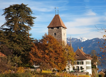 Spiez castle under blue sky (Jungfrau region, cantone Bern, Switzerland) Stock Photo - 8254360