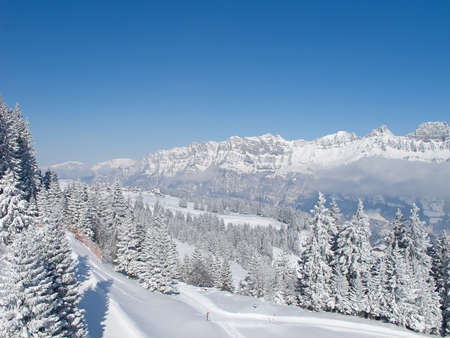 st gallen: Winter in swiss alps (Flumserberg, St. Gallen, Switzerland)