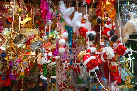 Various Christmas tree decorations on the street market in China photo