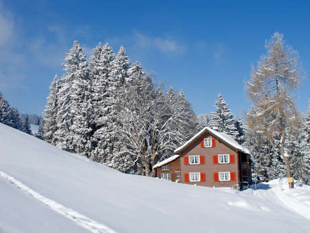 Winter in swiss alps (Flumserberg, St. Gallen, Switzerland) photo