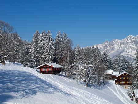 st  gallen: Invierno en los Alpes suizos Flumserberg, St. Gallen (Suiza)