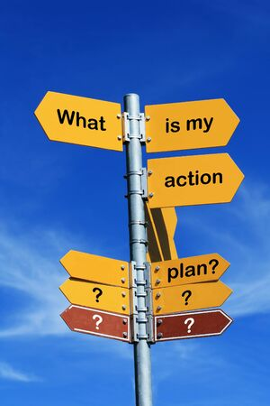 what: what is my action plan? direction sign Stock Photo