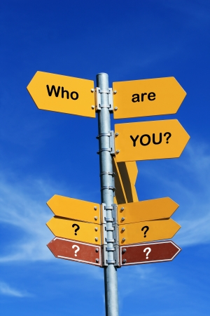 who are you? direction sign photo